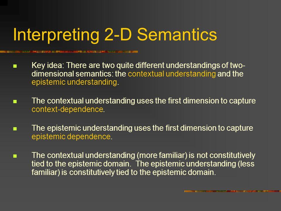 Interpreting 2-D Semantics