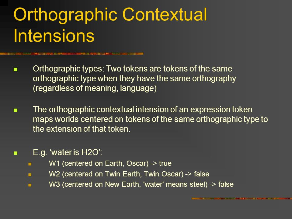Orthographic Contextual Intensions