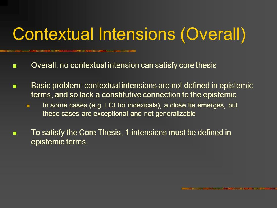 Contextual Intensions (Overall)