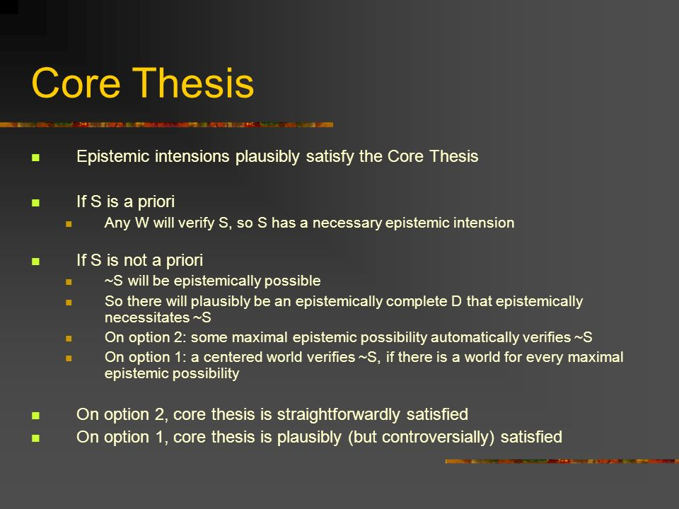Core Thesis Epistemic intensions plausibly satisfy the Core Thesis