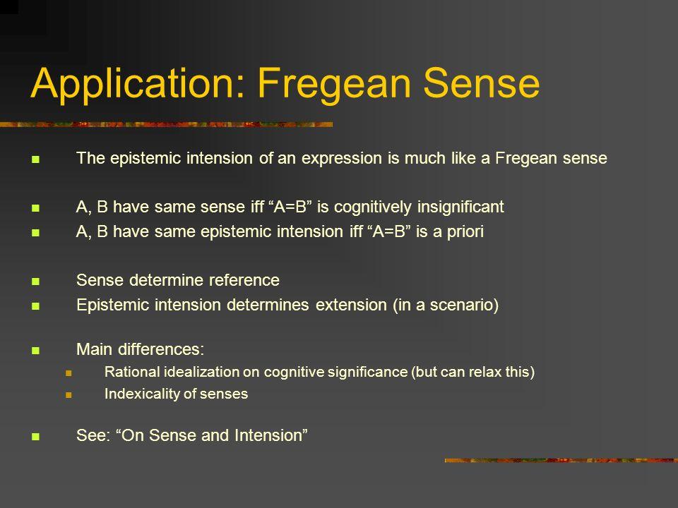 Application: Fregean Sense