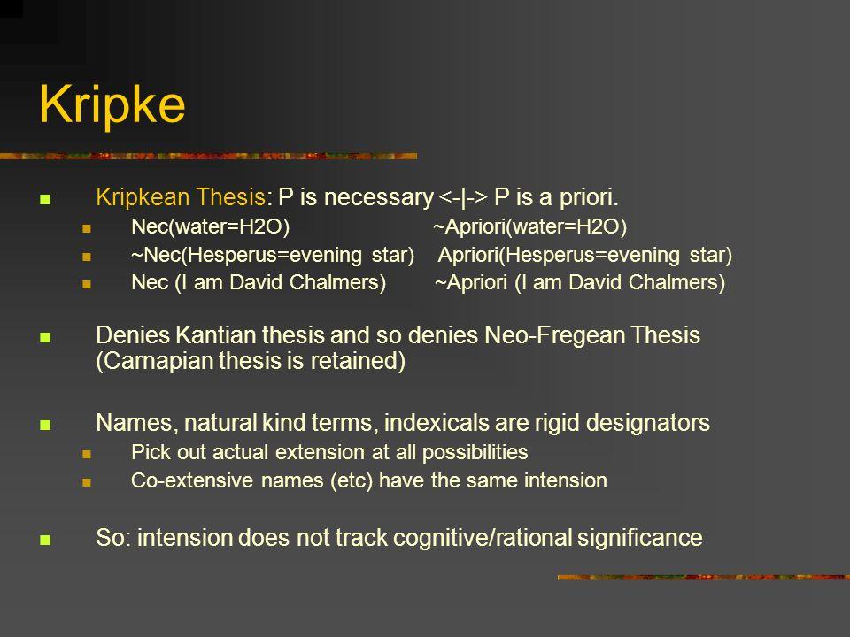 Kripke Kripkean Thesis: P is necessary <-|-> P is a priori.