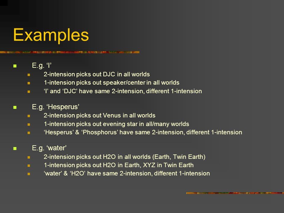 Examples E.g. 'I' E.g. 'Hesperus' E.g. 'water'