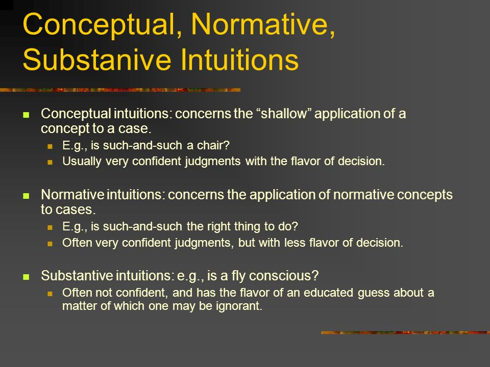 Conceptual, Normative, Substanive Intuitions