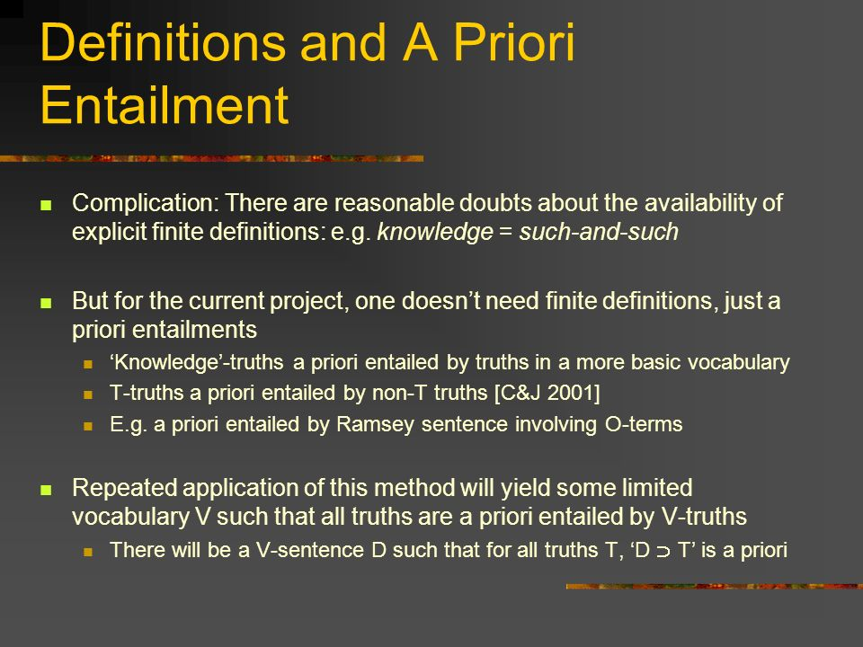 Definitions and A Priori Entailment