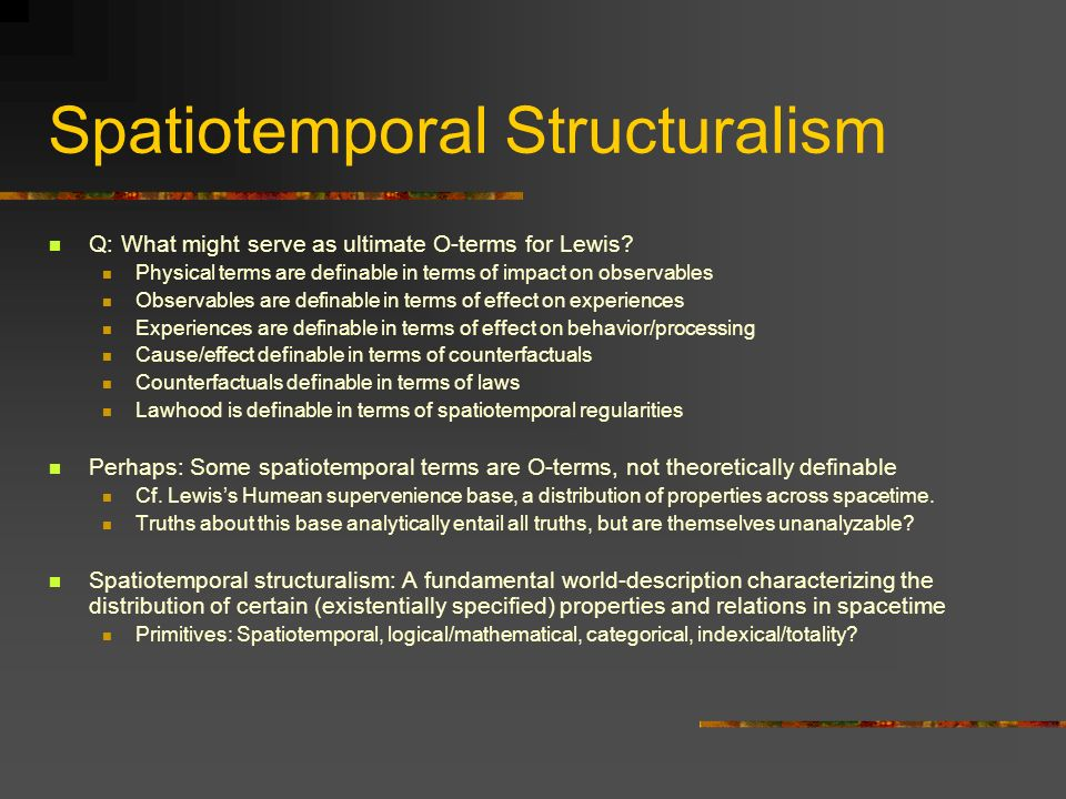 Spatiotemporal Structuralism