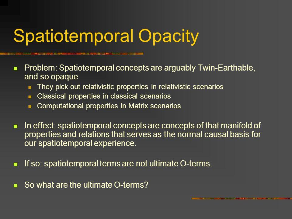Spatiotemporal Opacity