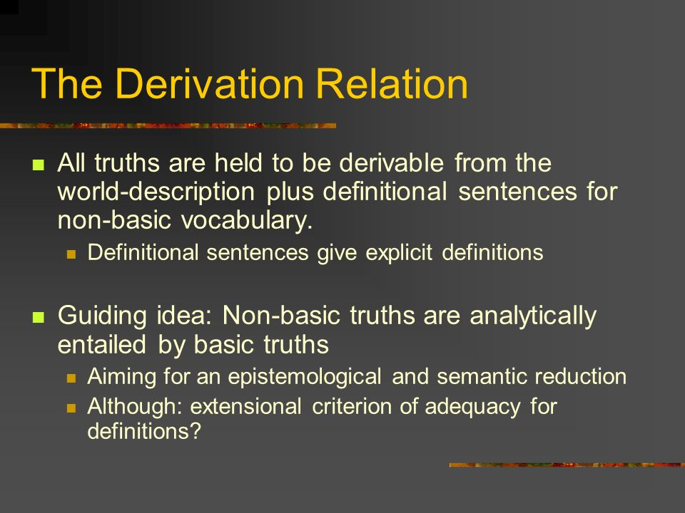 The Derivation Relation