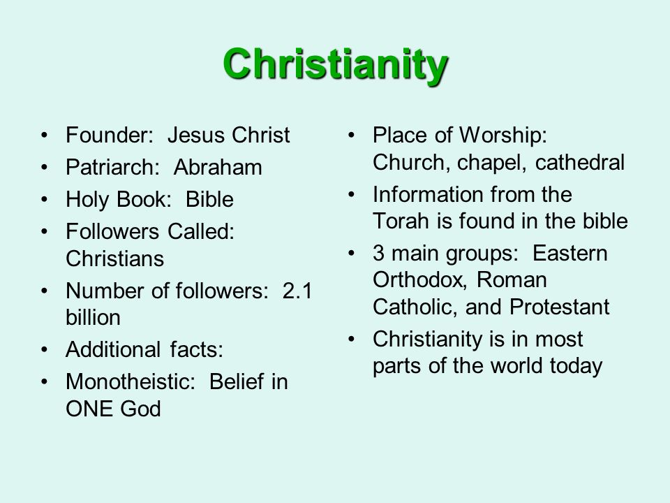 Christianity Founder: Jesus Christ Patriarch: Abraham Holy Book: Bible