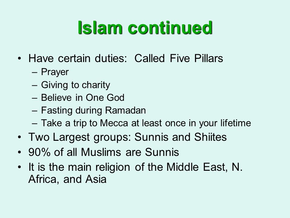 Islam continued Have certain duties: Called Five Pillars
