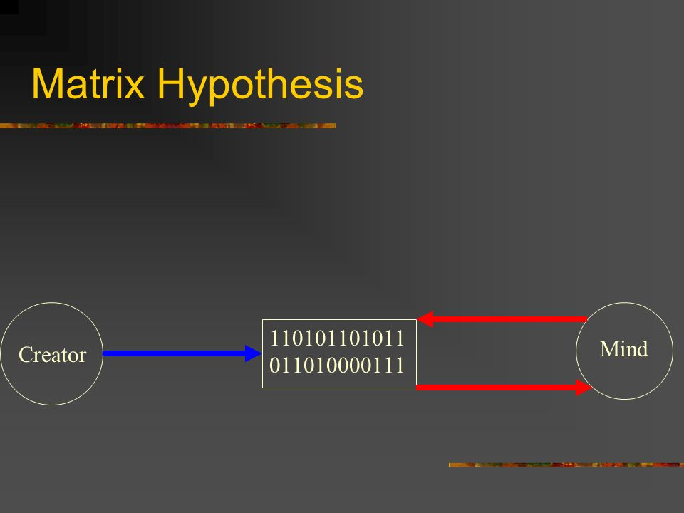 Matrix Hypothesis 110101101011011010000111 Mind Creator