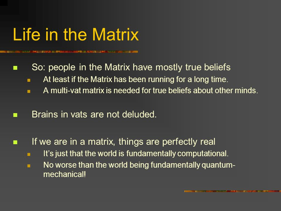 Life in the Matrix So: people in the Matrix have mostly true beliefs