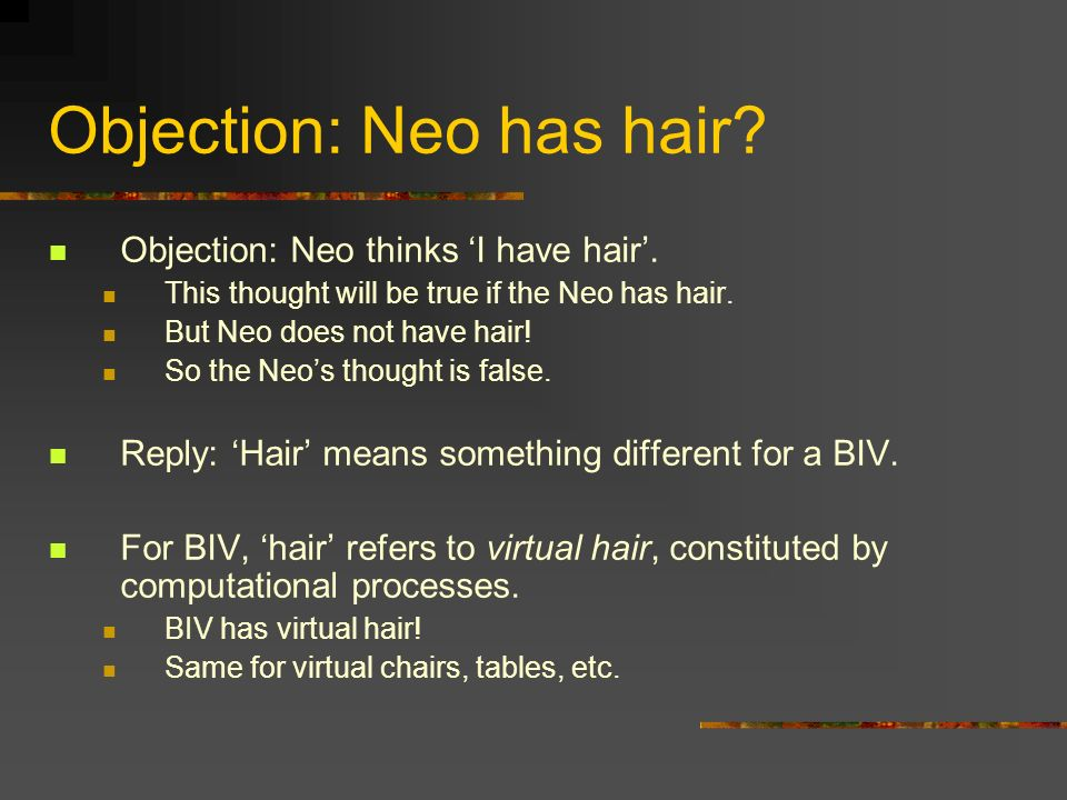Objection: Neo has hair