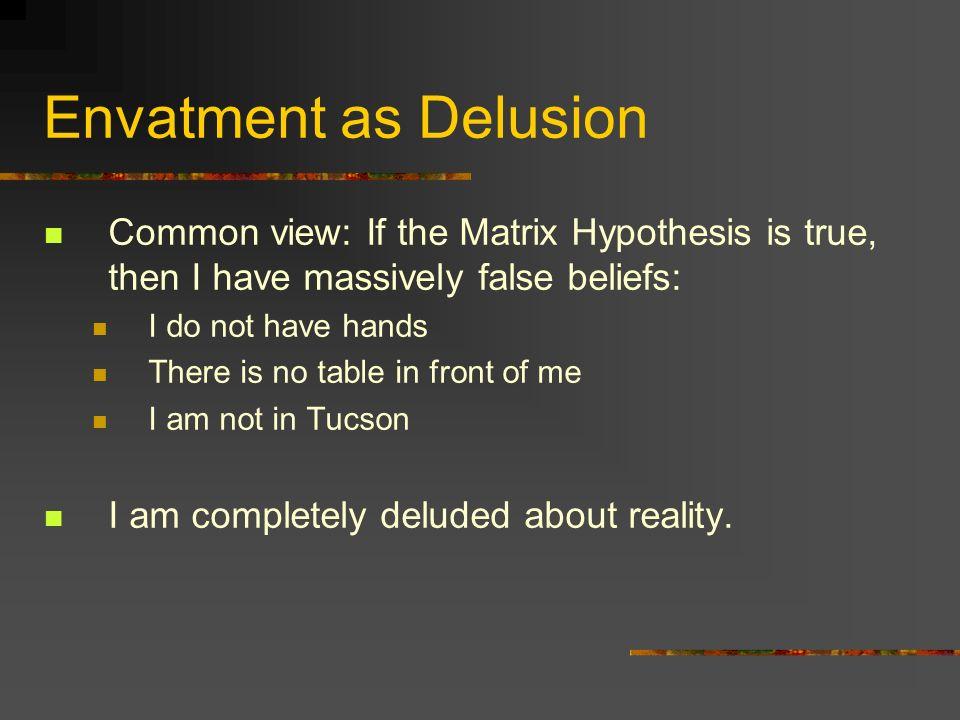 Envatment as Delusion Common view: If the Matrix Hypothesis is true, then I have massively false beliefs: