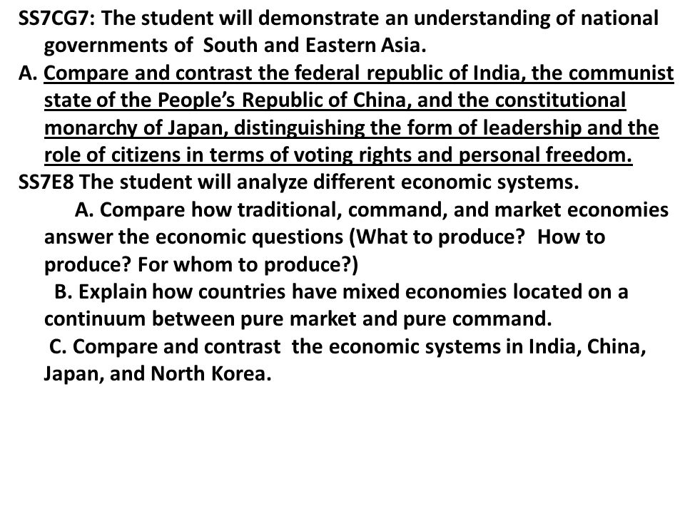 SS7CG7: The student will demonstrate an understanding of national governments of South and Eastern Asia.