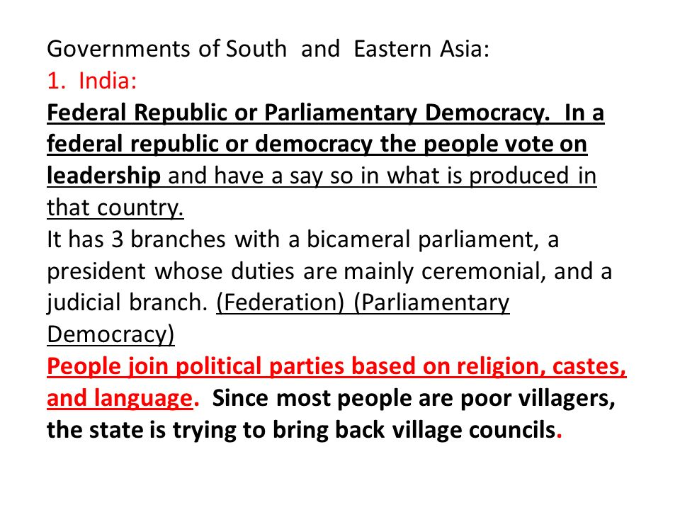 Governments of South and Eastern Asia: