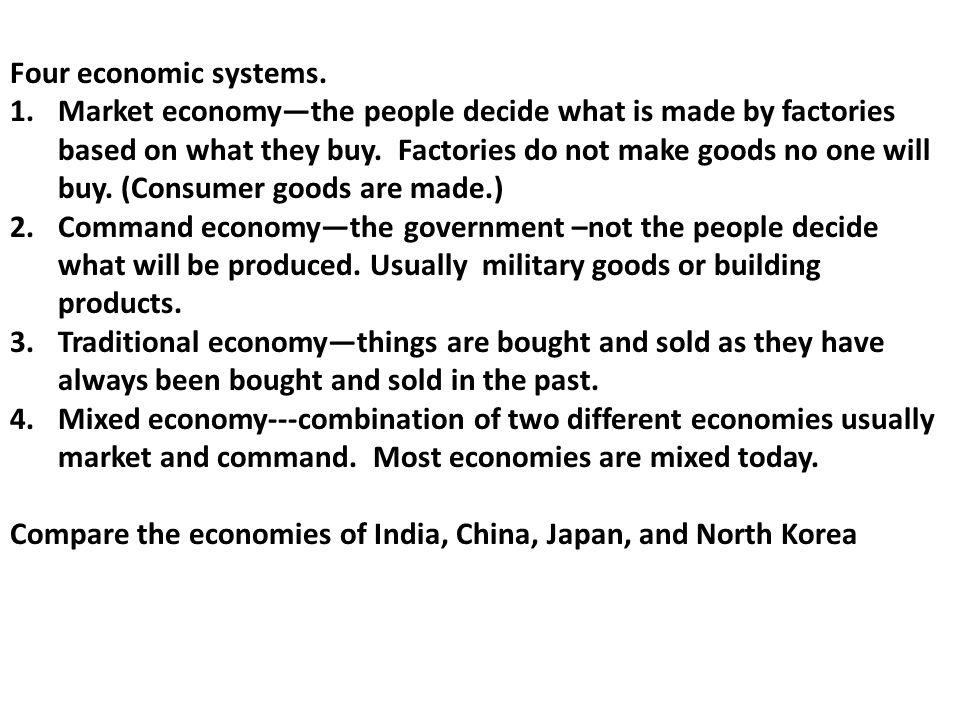 Four economic systems.