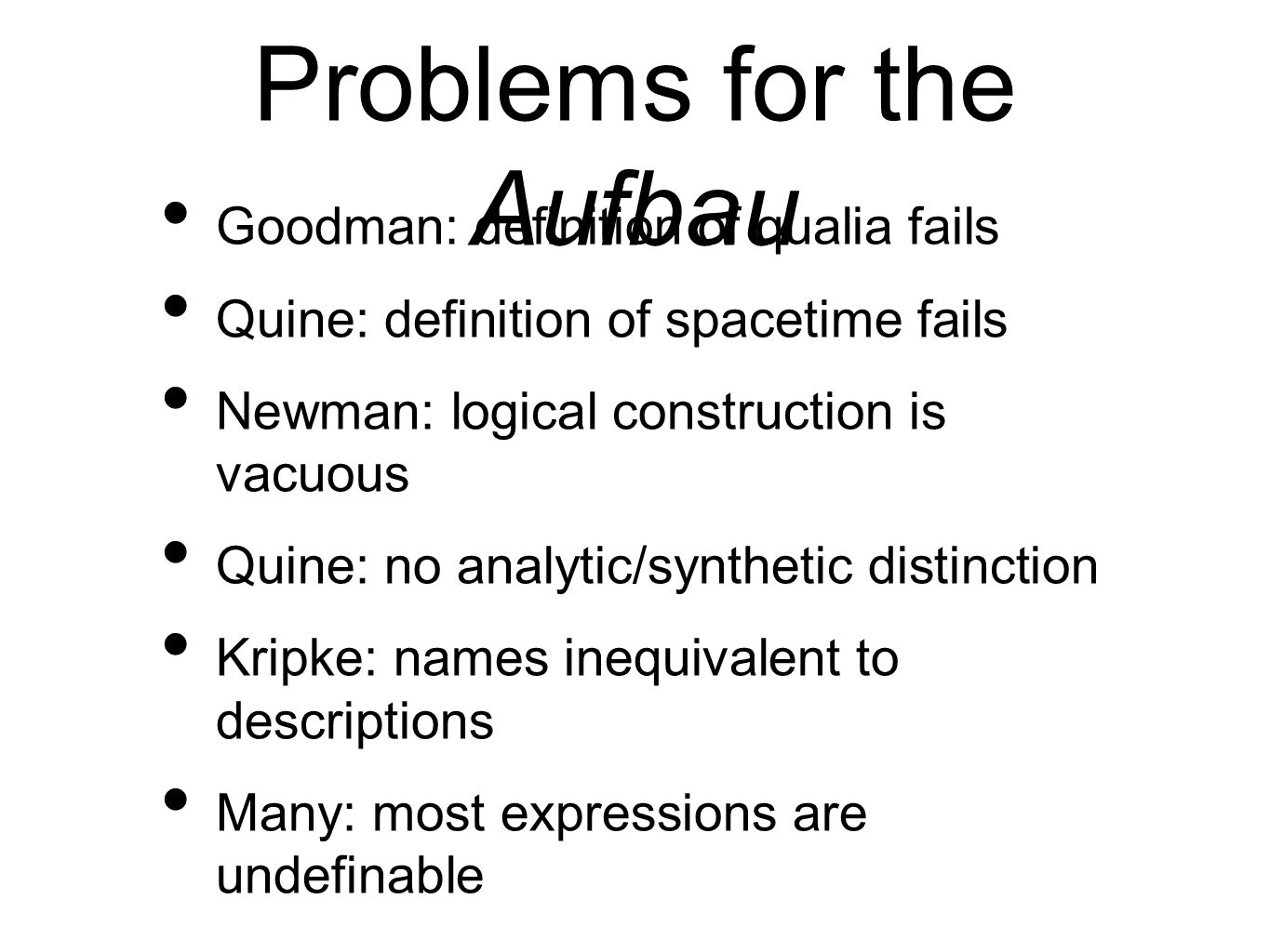 Problems for the Aufbau