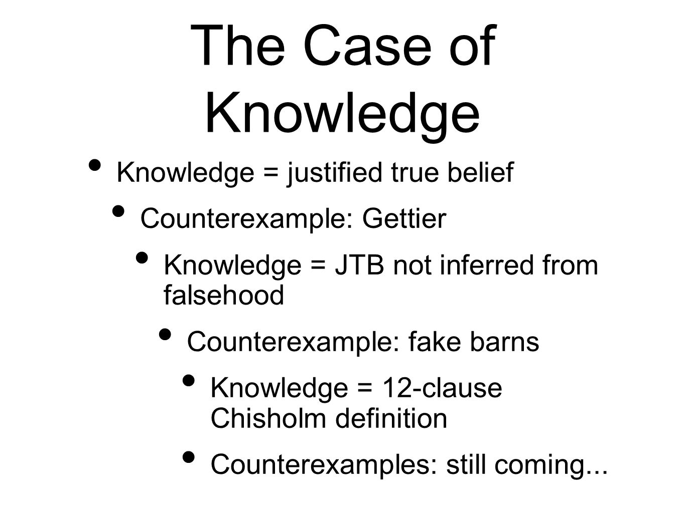 The Case of Knowledge Knowledge = justified true belief