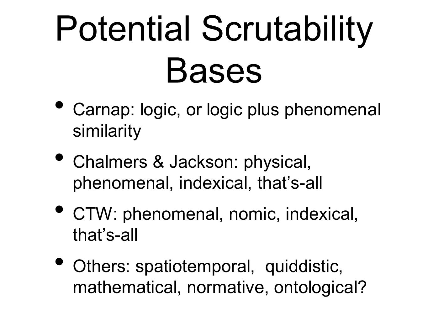 Potential Scrutability Bases