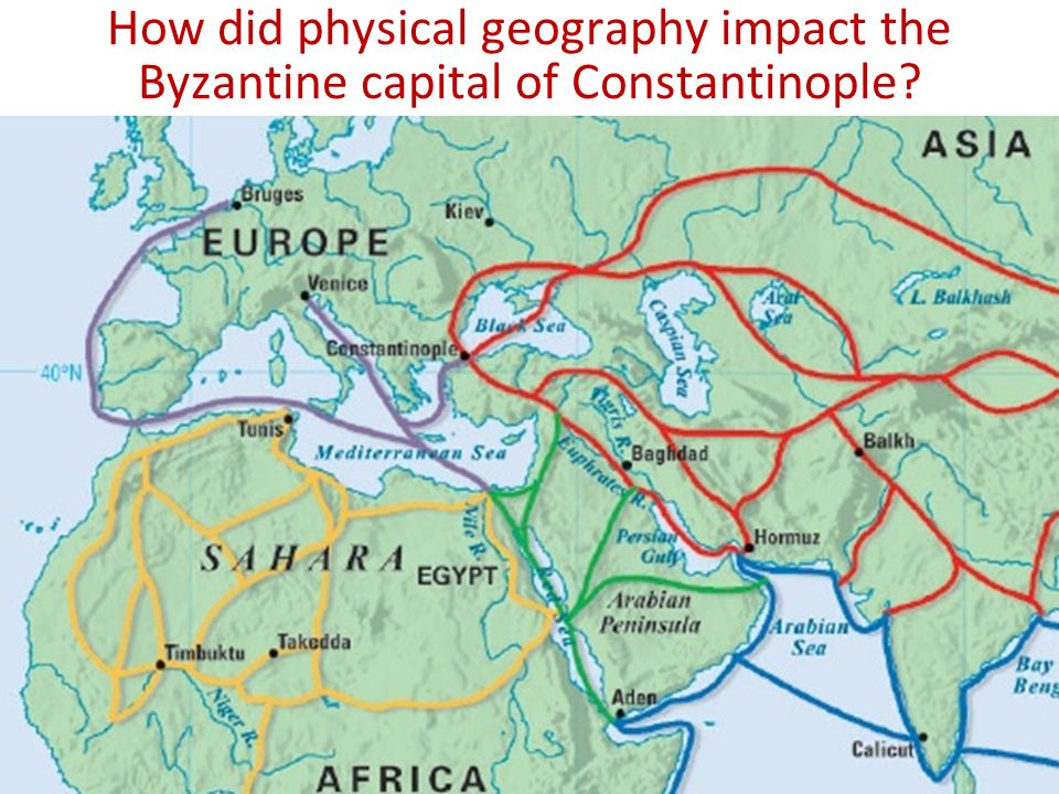 How did physical geography impact the Byzantine capital of Constantinople