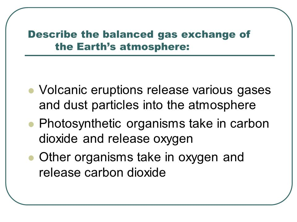 Describe the balanced gas exchange of the Earth's atmosphere: