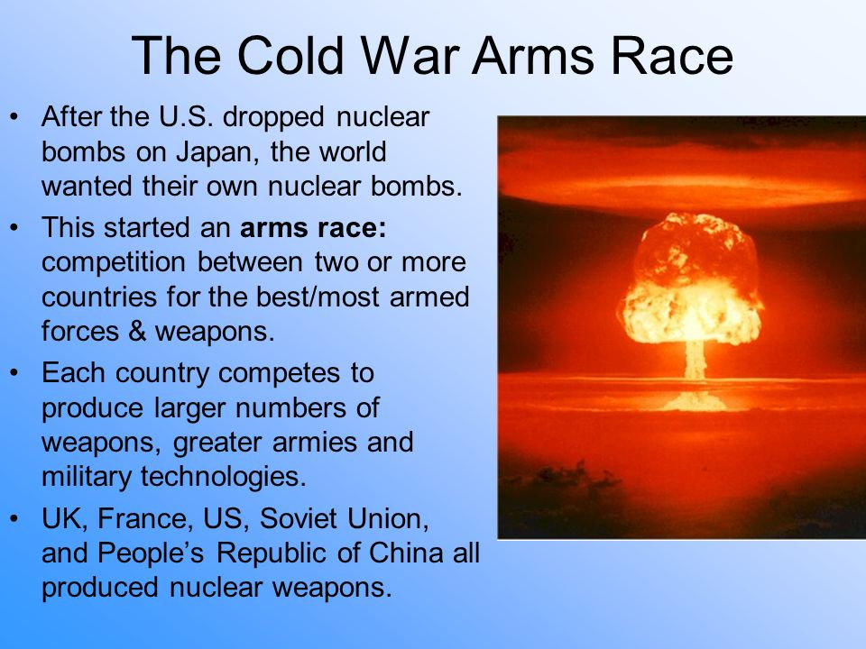 nuclear arms race cold war essay How important was the nuclear arms race in the development of tensions during the cold war 1945-1962 ideologies and an arms race this essay explores the main.