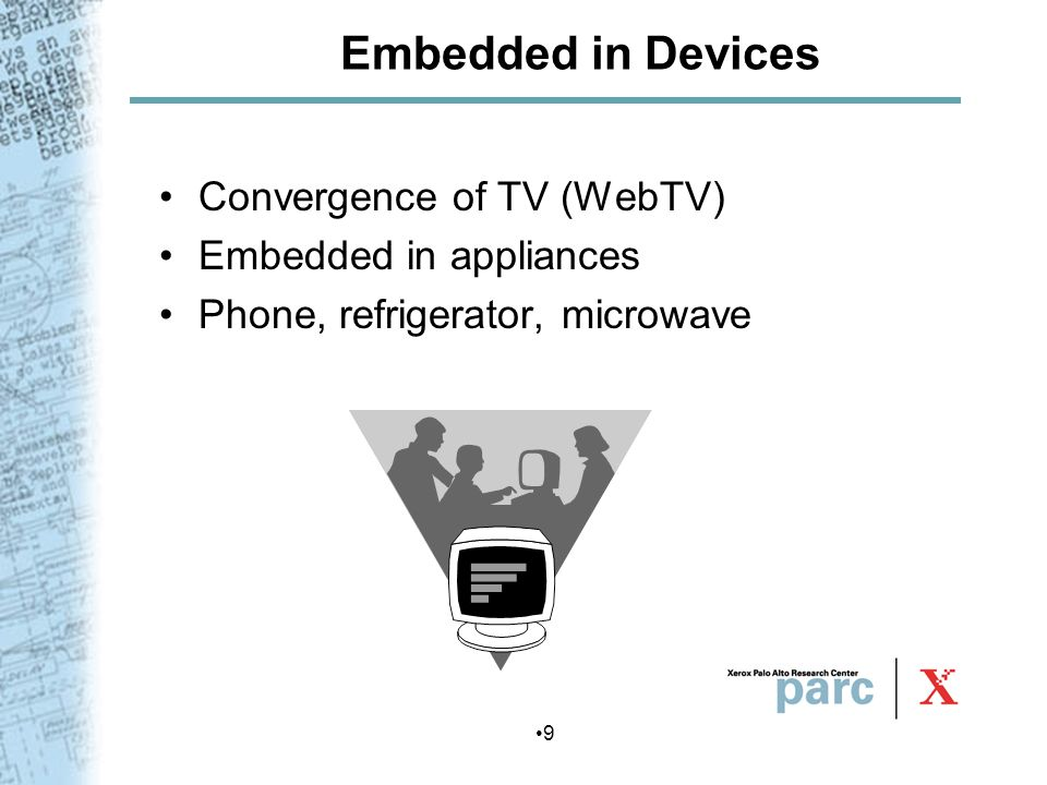 Embedded in Devices Convergence of TV (WebTV) Embedded in appliances