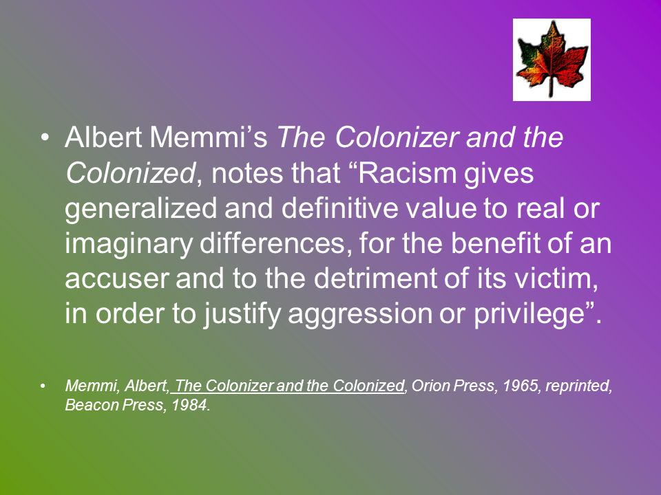 albert memmi the colonizer and the Albert memmi (arabic: ألبرت ميمي‎ born 15 december 1920, in tunis) is a tunisian jewish writer and essayist who migrated to france his most famous work.