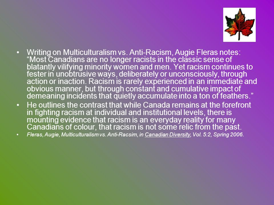 Writing on Multiculturalism vs
