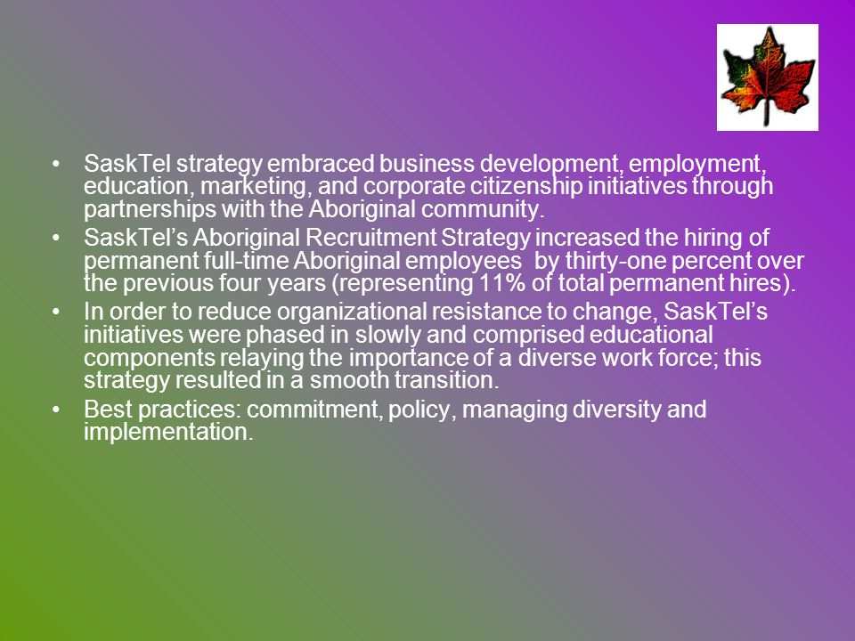SaskTel strategy embraced business development, employment, education, marketing, and corporate citizenship initiatives through partnerships with the Aboriginal community.