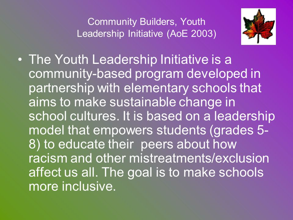 Community Builders, Youth Leadership Initiative (AoE 2003)