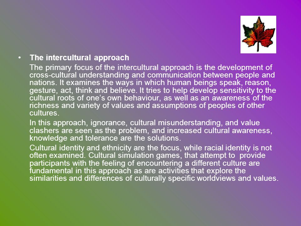 The intercultural approach
