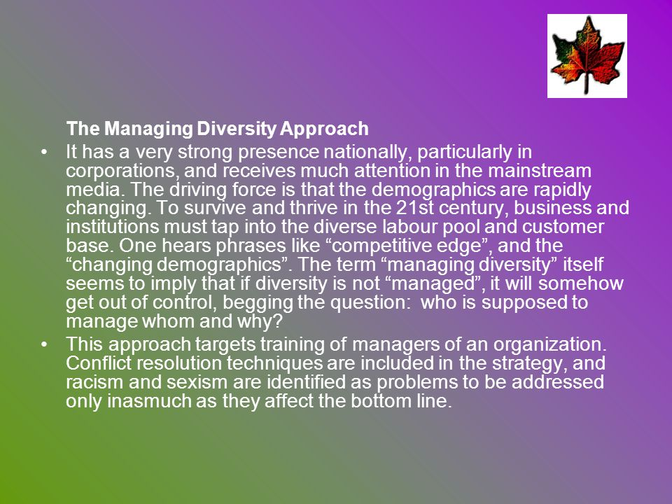 The Managing Diversity Approach