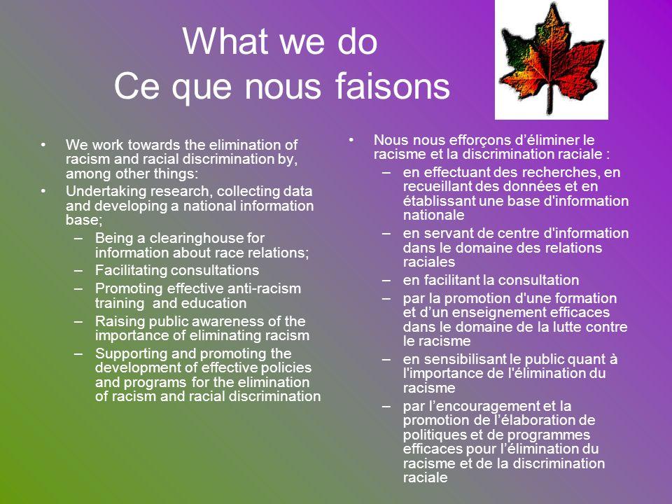 What we do Ce que nous faisons