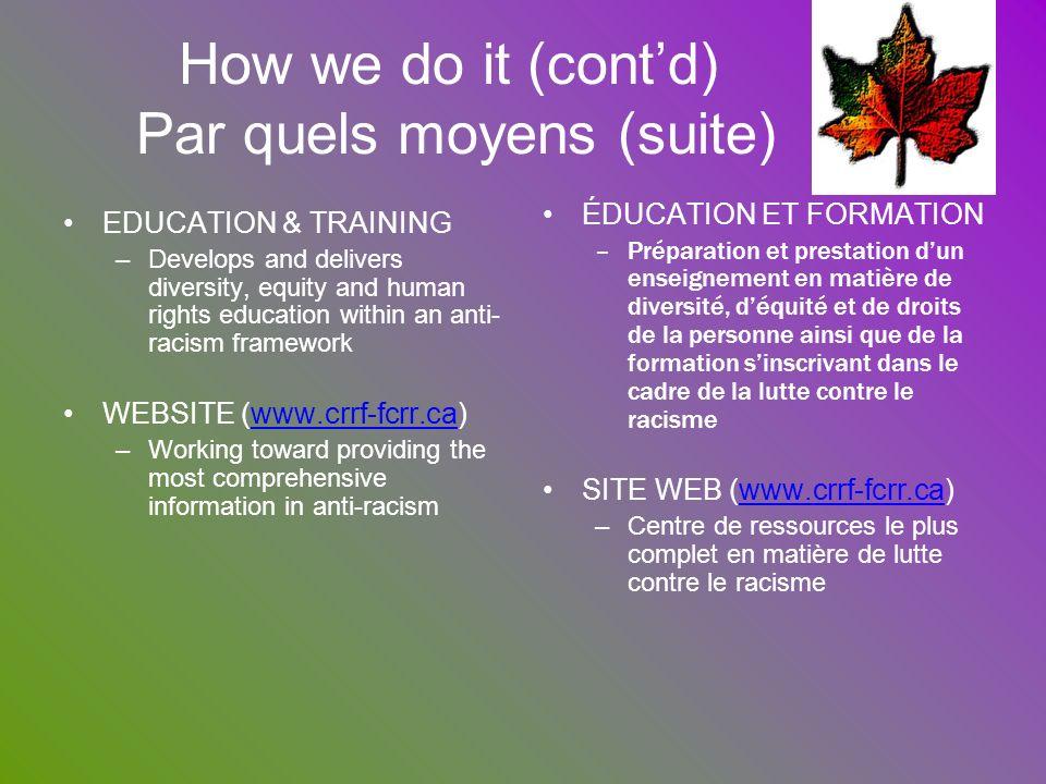 How we do it (cont'd) Par quels moyens (suite)