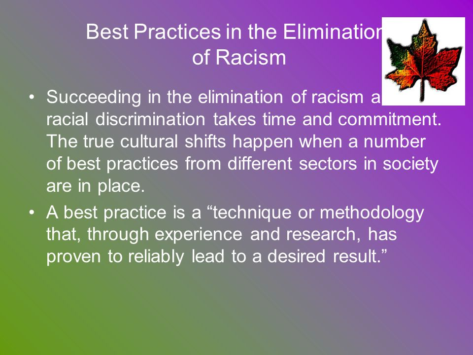 Best Practices in the Elimination of Racism