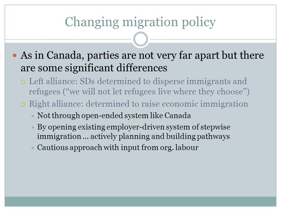 Changing migration policy