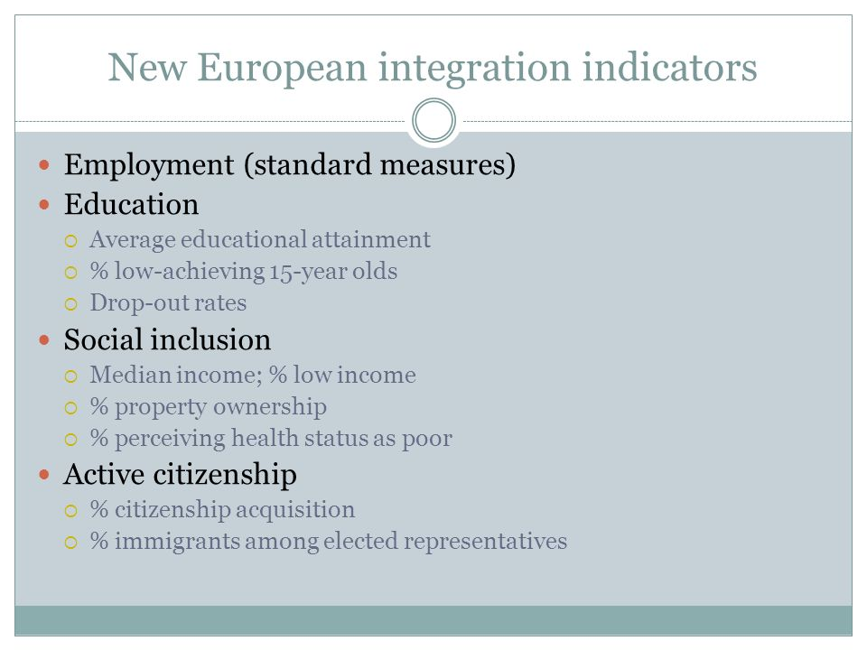 New European integration indicators