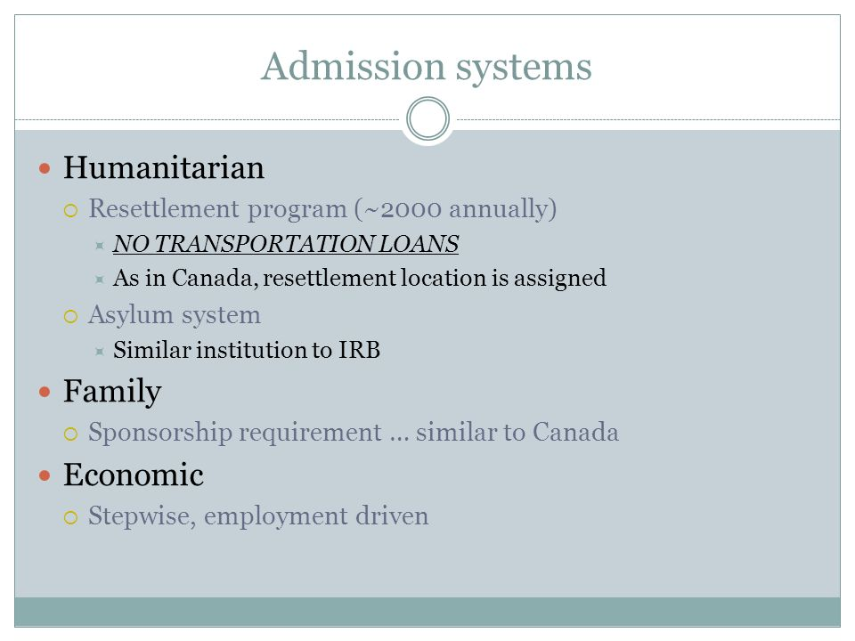 Admission systems Humanitarian Family Economic