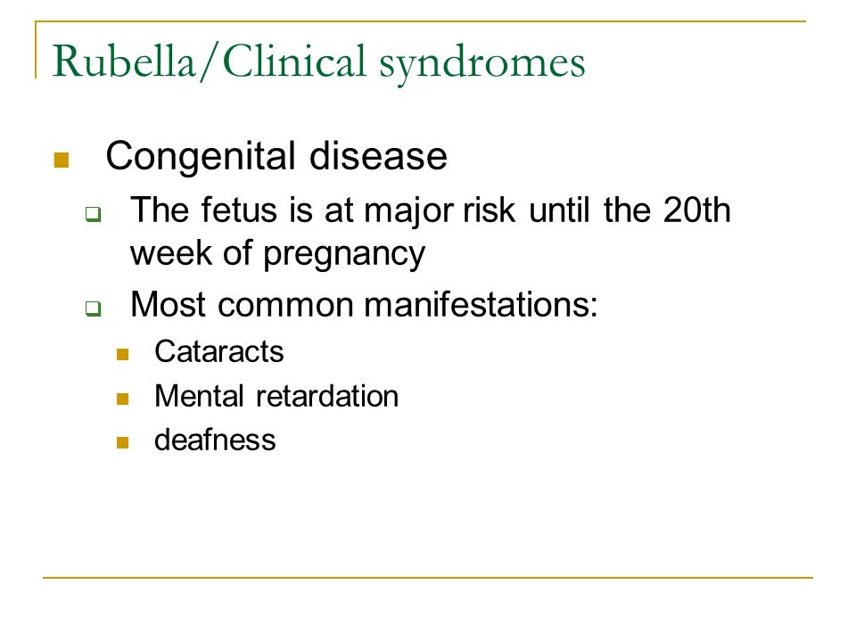 Rubella/Clinical syndromes