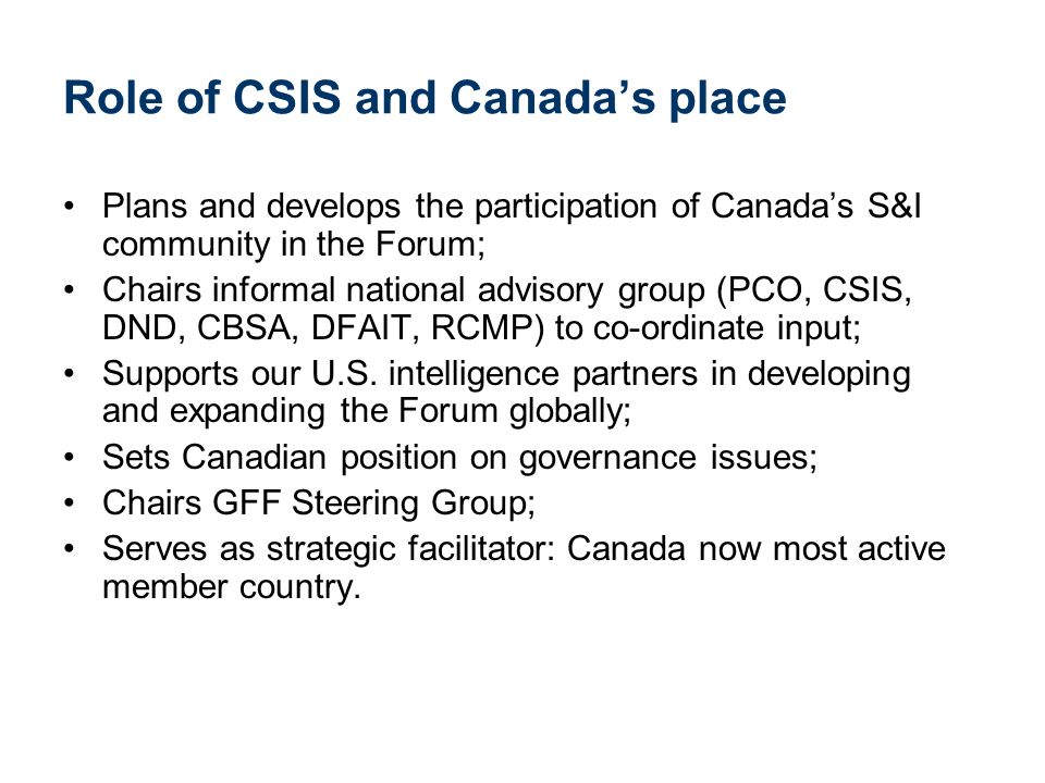 Role of CSIS and Canada's place