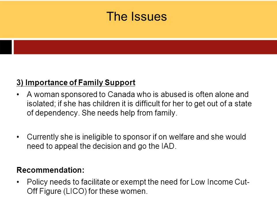The Issues 3) Importance of Family Support