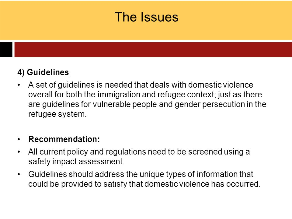 The Issues 4) Guidelines
