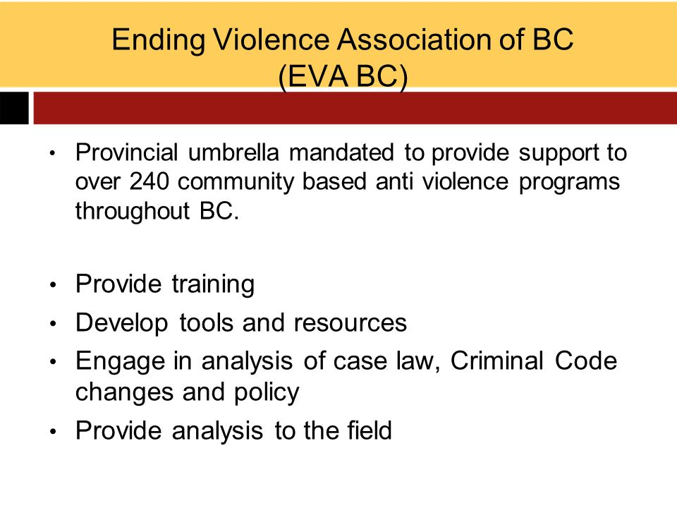 Ending Violence Association of BC (EVA BC)