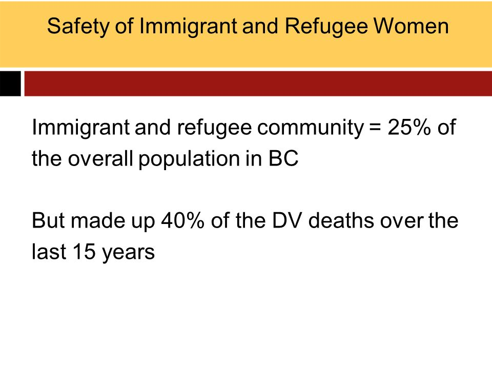 Safety of Immigrant and Refugee Women