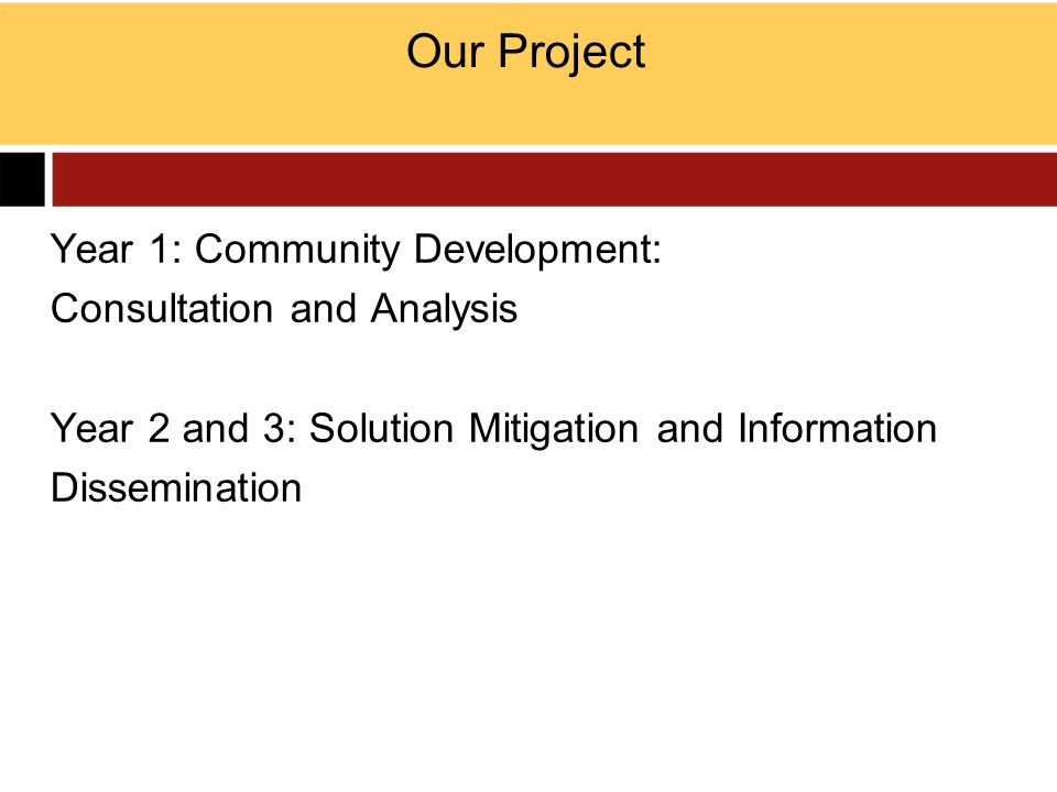 Our Project Year 1: Community Development: Consultation and Analysis