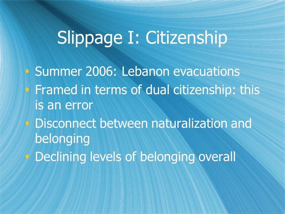 Slippage I: Citizenship
