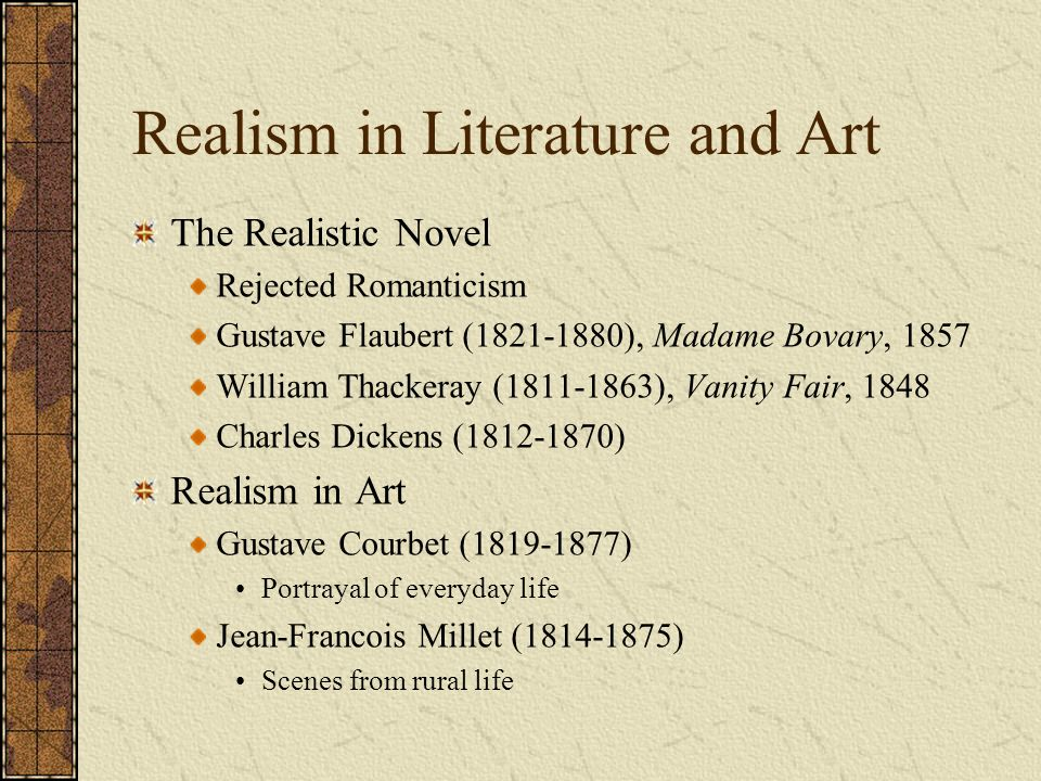 an analysis of the realism and romanticism in madame bovary by gustave flaubert Reflective statement madame bovary by gustave flaubert the interactive  the portrayal of romanticism and realism  character analysis of madame bovary and .