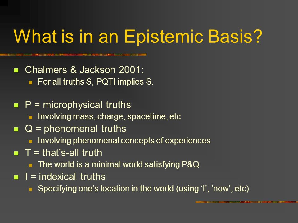 What is in an Epistemic Basis